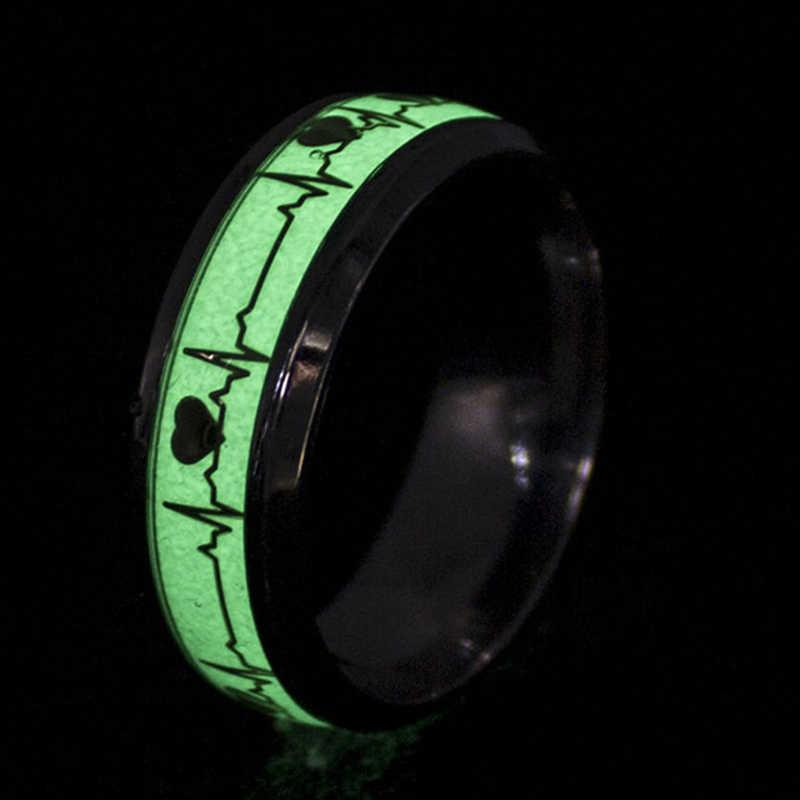 Retro Homens Mulheres Coração Luminoso Eletrocardiograma Knuckle Anel Jóias Romântico para Os Amantes de Aço Inoxidável Anel Glow In The Dark
