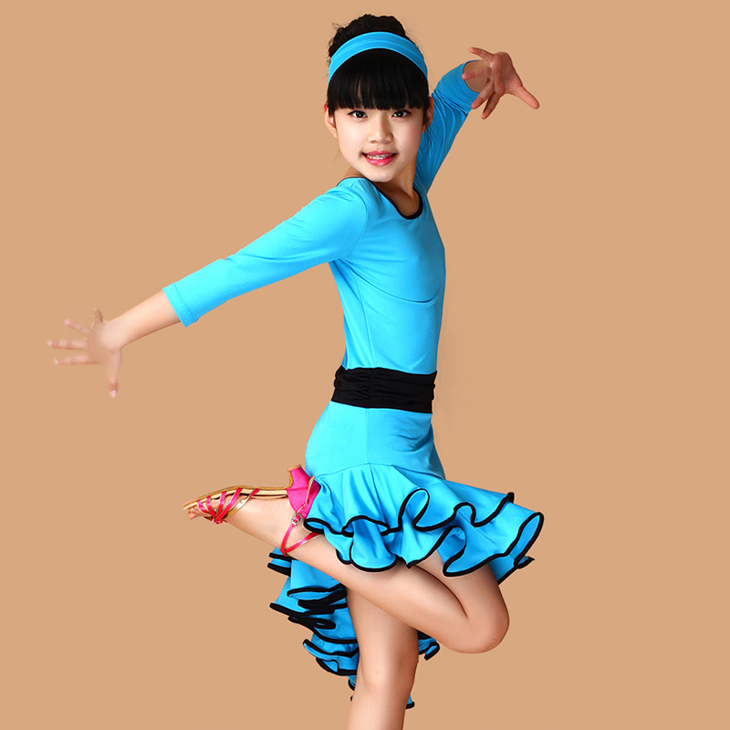 Latin Costumes for Kids Girls Performance Dress Long Sleeves Costumes Ballroom Dance Dresses Kids Dancewear Vestido Baile Latino 3colors 100 160cm height kids child girls tassel dress ballroom latin salsa fashion dancewear dance costume dresses gifts
