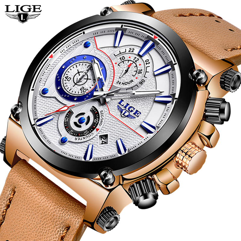 LIGE Watch Men Sport Quartz Fashion Leather Clock Mens Watches Top Brand Luxury Waterproof Business Watch Man Relogio Masculino weide popular brand new fashion digital led watch men waterproof sport watches man white dial stainless steel relogio masculino