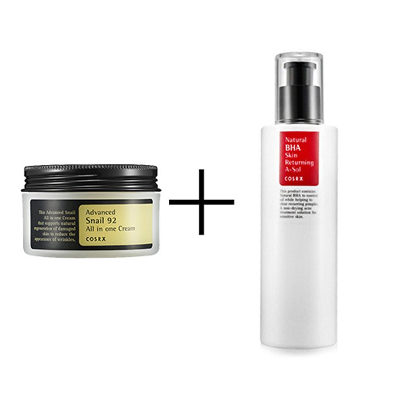 COSRX Advanced Snail 92 All In One Cream 100ml + COSRX Natural BHA Skin Returning A-Sol Face Essence Cream Facial Skin Care Set маска touch in sol touch in sol to044lwjei47