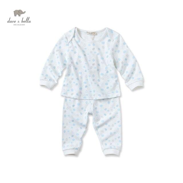 DB2650 дэйв белла осень 100% cottom ребенка пижамы дети мальчики пижамы девушки пижамы детские наборы сна