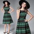 Vestidos de 2017 mulheres novas da chegada prevista dress moda geométrica imprimir vestidos de festa one piece-primavera casual dress alta qualidade