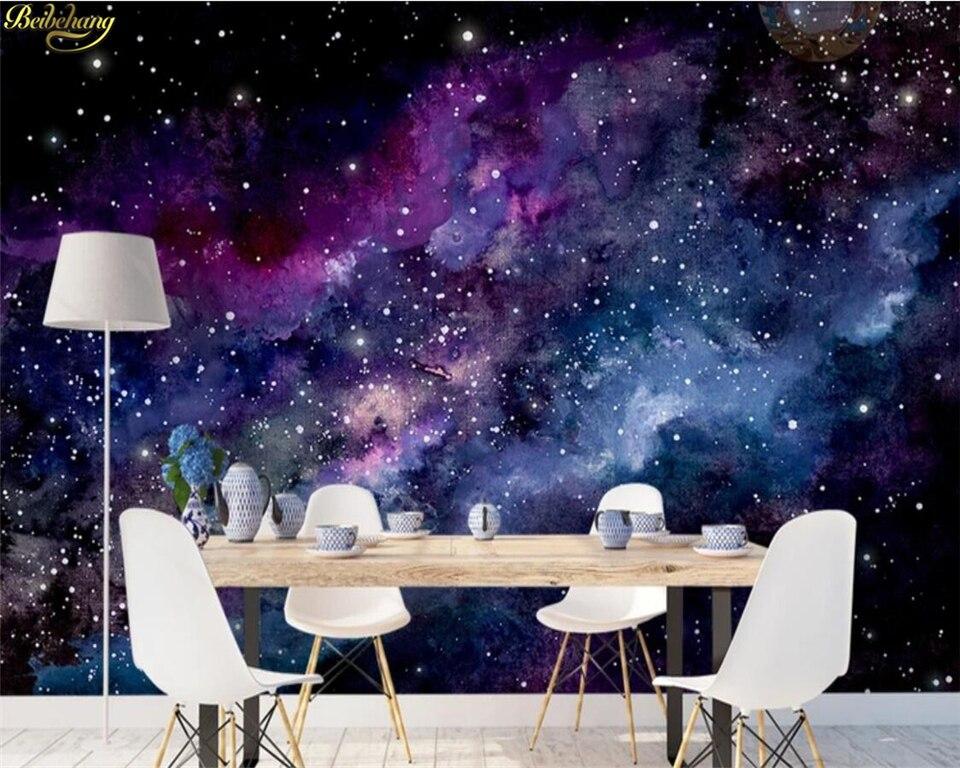 beibehang Custom 3d wallpaper blue purple dream starry sky dynamic nebula black hole hand painted
