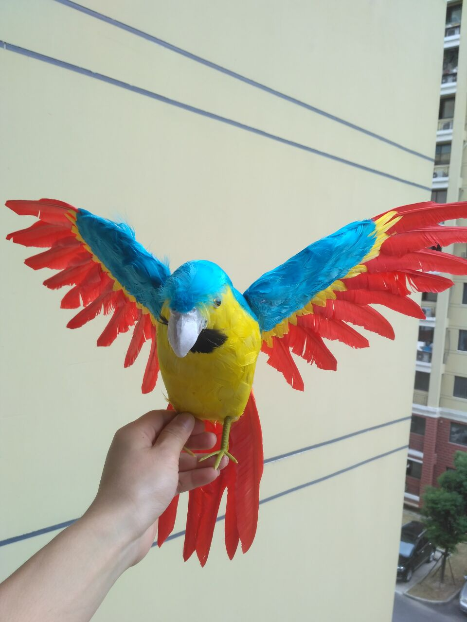big simulation blue&yellow&red parrot toy polyethylene&furs wings parrot model gift about 60x45cm 1466