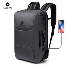 Ozuko mochila masculina impermeável, mochila masculina de alta capacidade anti roubo para laptop 15.6 polegadas, com carregador usb, ideal para viagens, uso casual