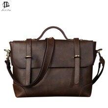 *# New Retro Crazy Horse Genuine Leather Men's Classic Handbag Messenger Shoulder Bag Travel Business Laptop Bag Briefcase