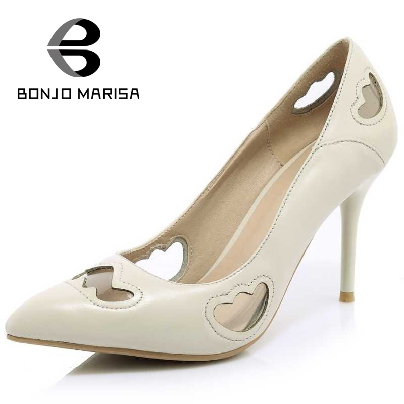 ФОТО BONJOMARISA Cutout Women Summer Pumps Sexy Thin High Heel Pointed Toe Slip On Party Wedding Shoes For Woman 2017 Size 34-39