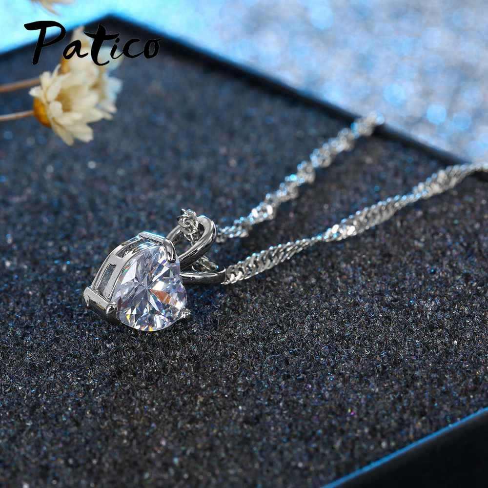 """Romantyczne serce CZ naszyjnik dla kobiet panie 925 srebro 18 """"łańcuszek miłośnik biżuterii walentynki prezenty"""