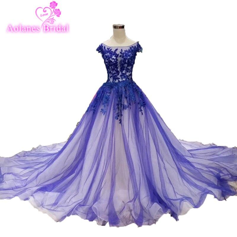 Liban 2019 bleu Royal robes de bal cap manches robe de bal longue robe de soirée Photos de fiançailles sur mesure pas cher robes de bal