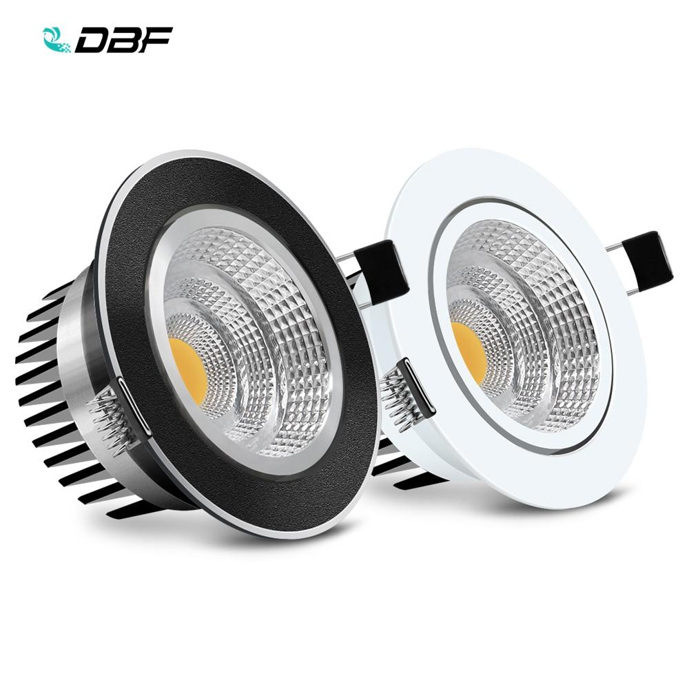 [DBF] noir/blanc corps encastré LED Dimmable Downlight COB 6W 9W 12W 15W LED Spot lumière LED décoration plafonnier AC 110V/220V