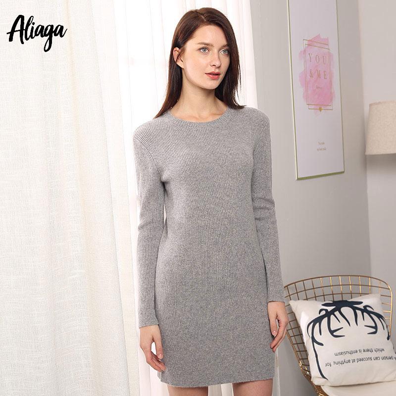 100% pur cachemire robe femmes pull Slim col rond femme automne hiver décontracté Long tricoté pull pull