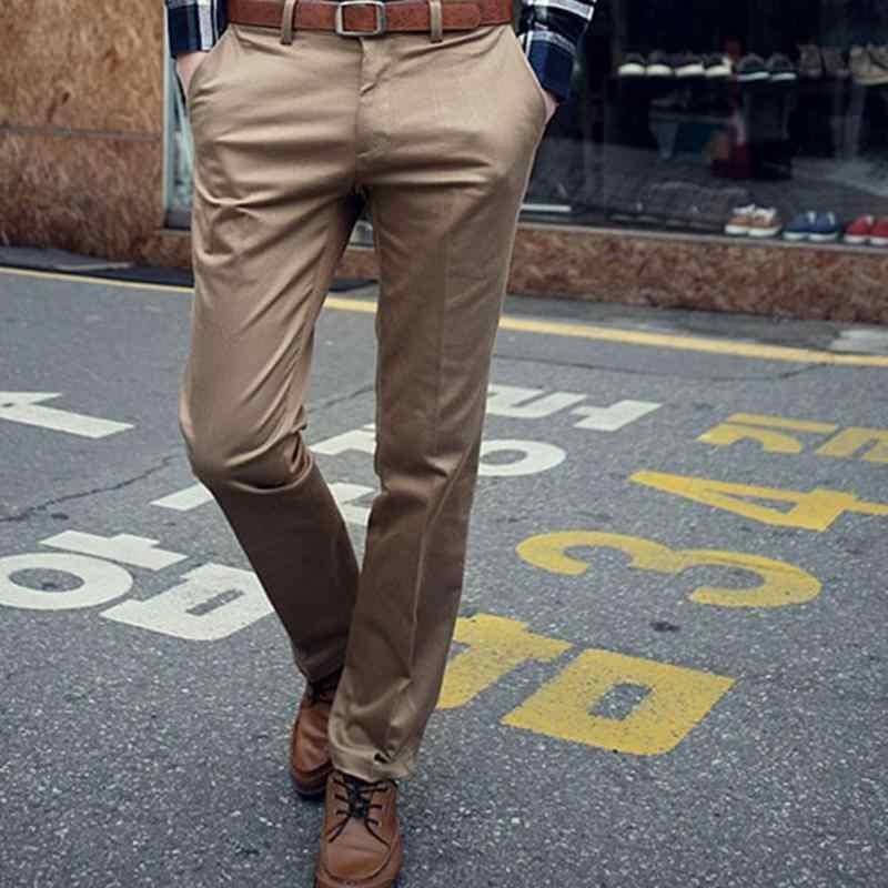 afe3a99acb6 Fashion Brand Men Work Wear Office Slim Fit Flat Suit Pants Business Formal  Trousers Pantalones Hombre