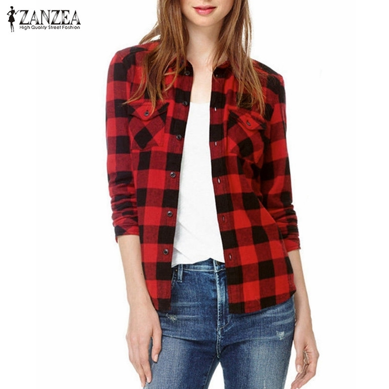 Blusas 2016 autumn womens long sleeve boyfriend blouses Womens red plaid shirts blouses