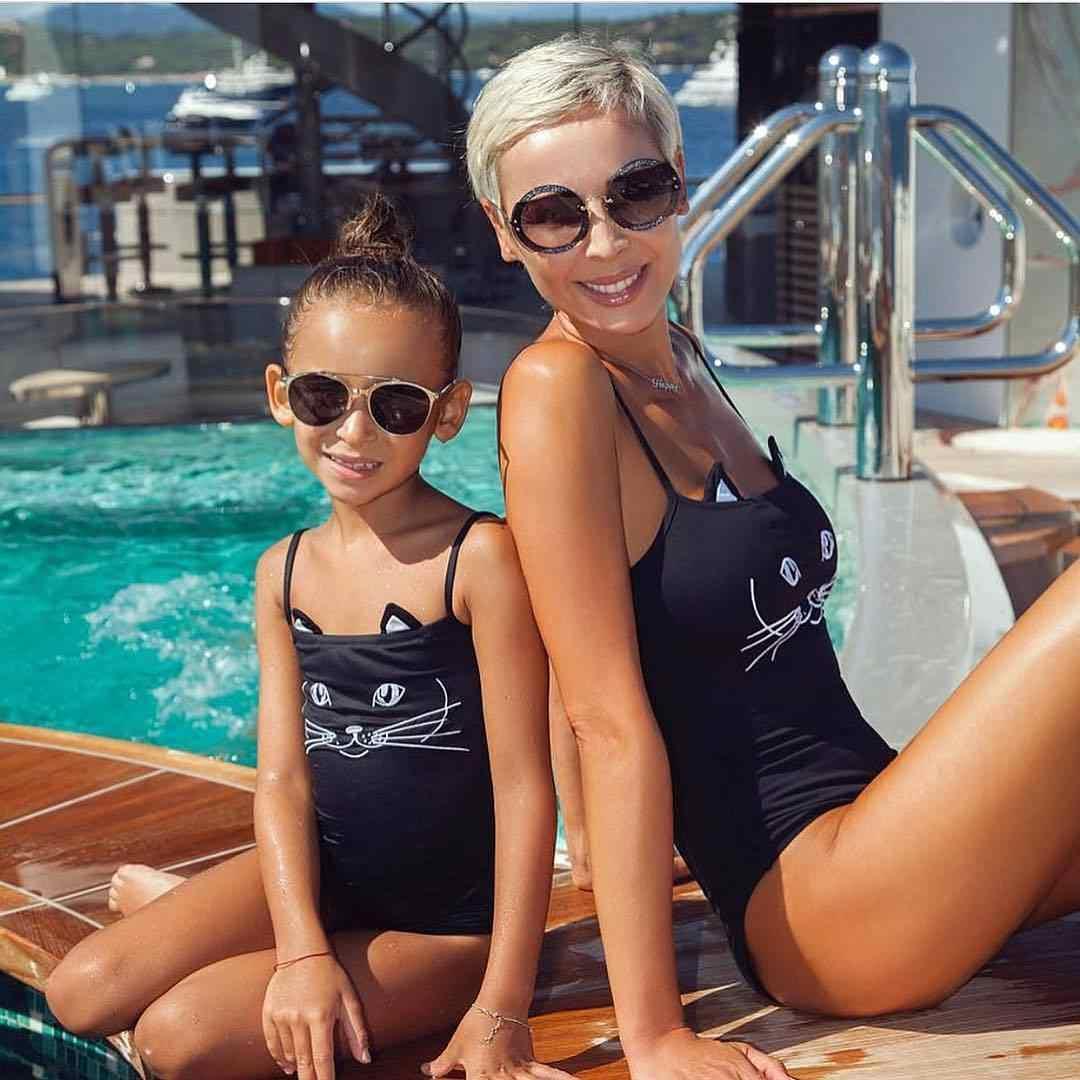 259a10238d8 ... 2018 NEW summer Mother Daughter 3D Black Cat One-Piece Bikini cute  skinny girls Swimwear ...