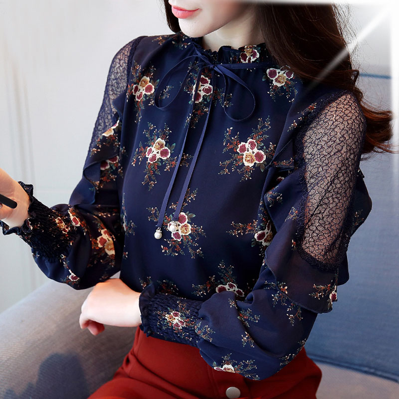 Plus Size Off Shoulder Top Dark Blouses For Women Lady Casual Long Mesh Splicing Sleeves Casual For Women Tops DF2264
