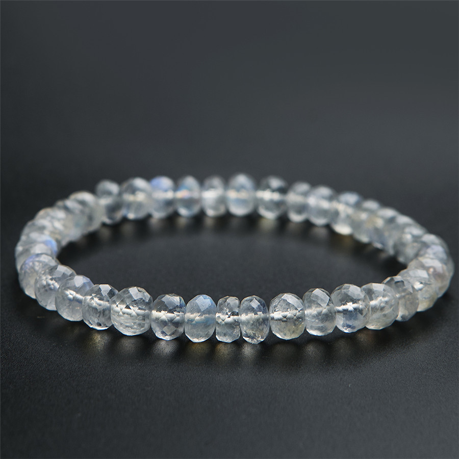 7mm Genuine Natural Blue Lightfaceted Moonstone Quartz Crystal Transparent Round Beads Jewelry Charm Stretch Bracelets For Women7mm Genuine Natural Blue Lightfaceted Moonstone Quartz Crystal Transparent Round Beads Jewelry Charm Stretch Bracelets For Women