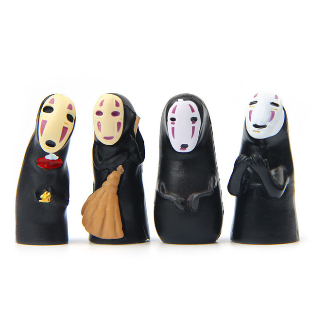 4Pcs/lot Mini PVC No Face Studio Spirited Away No Face Anime Action Figure Ornaments Landscape Decoration Toy Collection Model