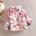 Зимнее Пальто Ребенок Девочка Цветочные Стенд Ошейник С Длинным Рукавом Лук Верхняя Одежда для 2-6Y