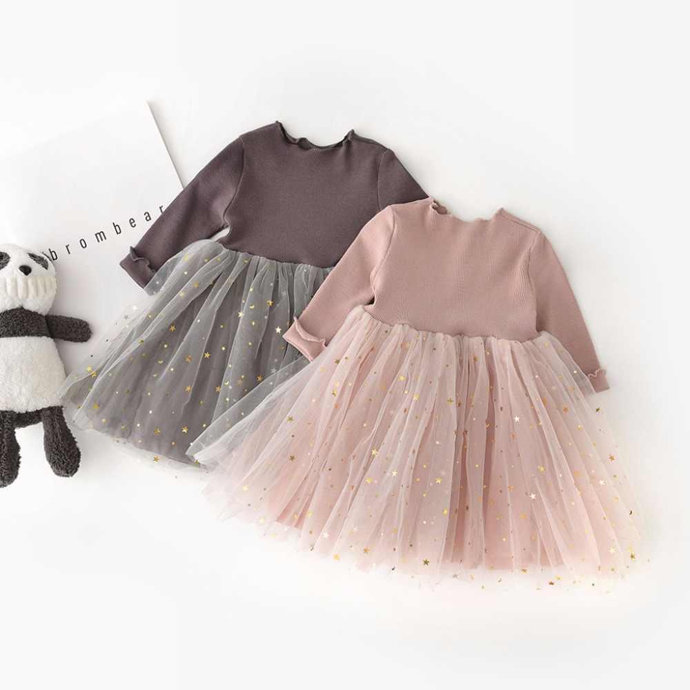 2019 הכי חדש סתיו פעוט תינוקת ילדי בגדים ארוך שרוול ילדי נסיכת טול שמלת 0117