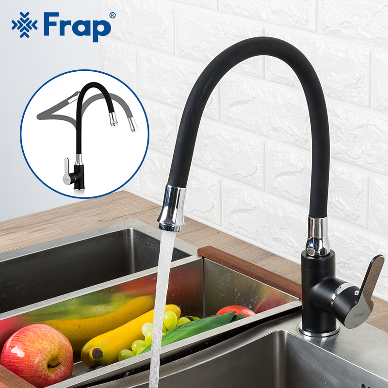 Robinet de cuisine FRAP robinet d'évier de cuisine en laiton noir robinet mitigeur rouge mitigeur flexible eau froide et chaude robinet pont monté