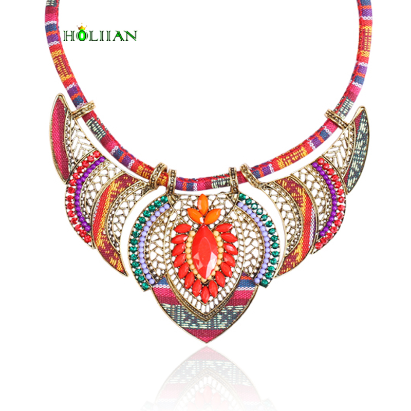 Female vintage choker pendants necklaces big boho necklaces ethnic bohemian jewelry statement tribal orange bijoux femme