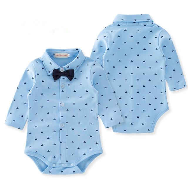 528debf29 Baby Boy Rompers Cotton Long Sleeve Blue Print Outfits Gentleman ...