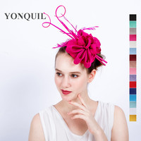 高品質17色パーティー教会fascinators帽子ファンシーダチョウ羽かぶとフェザーヘアクリップ用機会結婚式SYF116