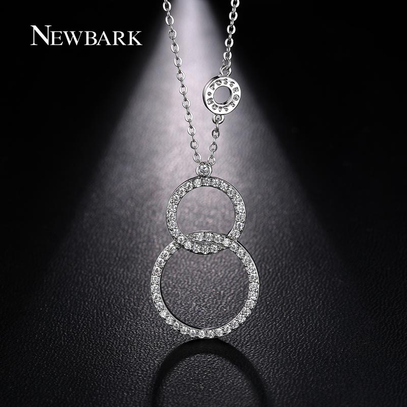 NEWBARK Silver Color Infinity Double Circle Number 8 Necklace Round Long Pendant Necklace For Women Wholesale Jewelry