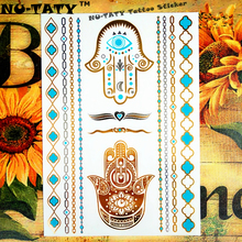 Nu-TATY 24 Style Temporary Tattoo Body Art, Gold Hamsa Fatima Designs, Flash Tattoo Sticker Keep 3-5 Days Waterproof 21x15cm