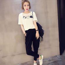 Fashion Printed Short Sleeve O-Neck T-shirt + Pockets Casual Long Pants Korean Style 2 Piece Sets 2019 Summer Women Suits цена