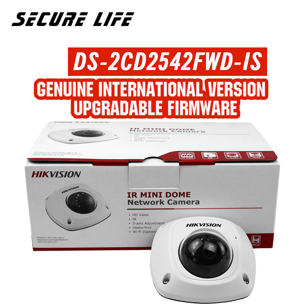 In stock HIKVISION English Version DS-2CD2542FWD-IS 4MP Mini Dome CCTV Camera POE WDR H.264+, non wifi, P2P mini ip camera in stock english version ds 2cd2142fwd i support h 264 ip66 ik10 poe 4mp wdr fixed dome network camera