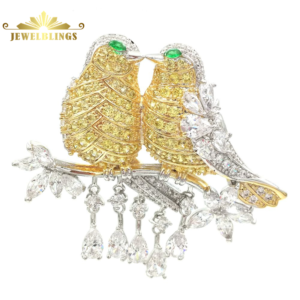 Vintage Short Tassel Drops Yellow Love Bird Brooch Silver Tone Micro Pave CZ Lovely Double Pins Broach Valentines day Gift