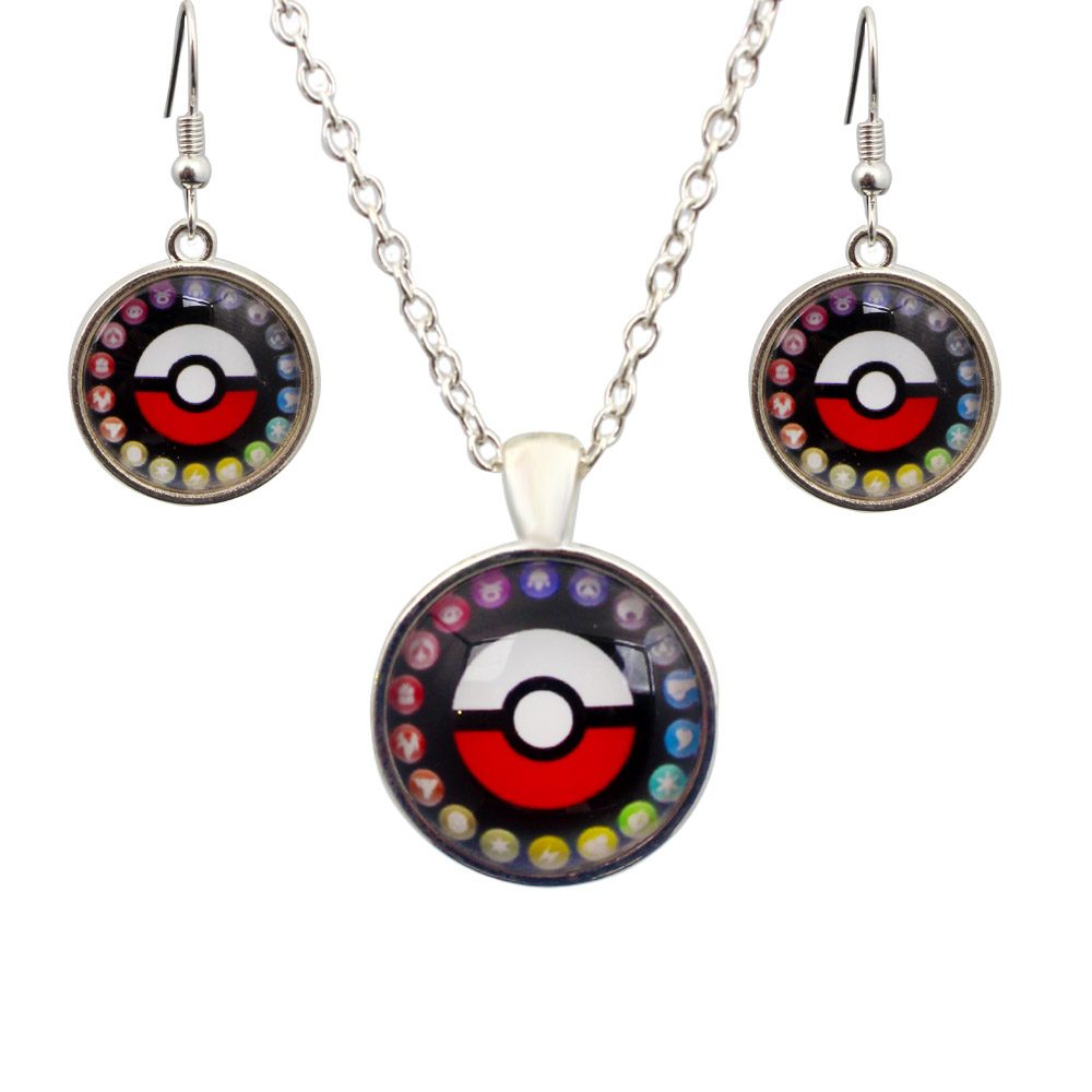 Classic Red Pokemon Jewelry Sets Silver Plated Round Ball Necklace Earrings  Vintage Costume Accessories Women Jewellery