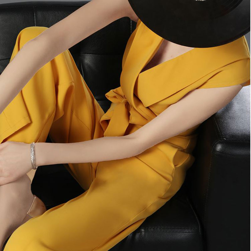 2018 Summer Women High Fashion Loose Elegant Sexy Bandage Deep V-Neck Shirts Bow Wide Leg Long Pants Female Chiffon Jumpsuits black plain deep v neck long sleeves loose fit t shirts