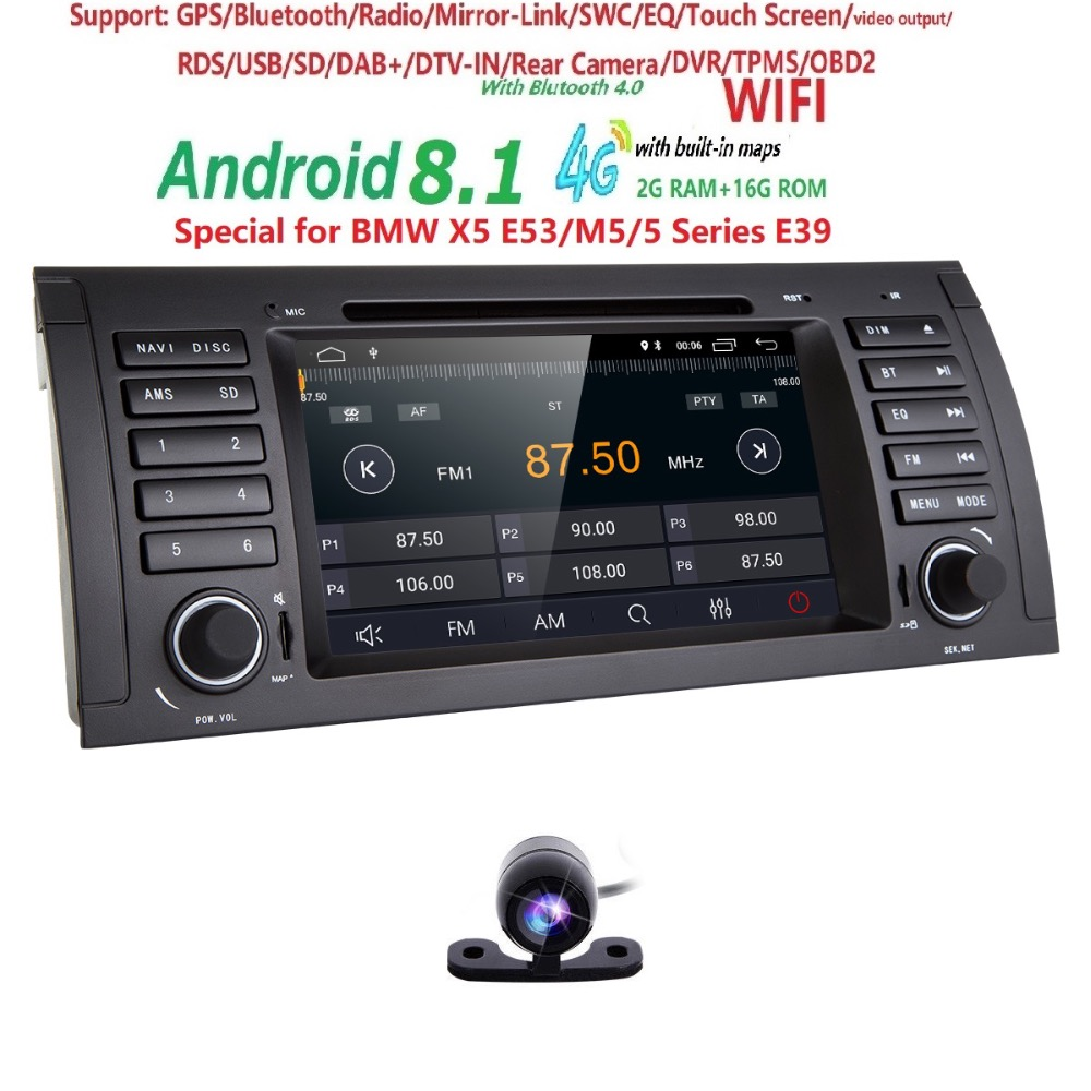 Car DVD Player GPS Audio Radio For BMW 5 Series X5 E53 E39 M5 Android 8.1 1024*600 Quad Core 4X1.6GHz CPU 2GB/16GB Flash Stereo