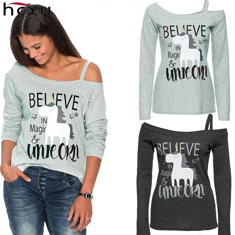 Women Long Sleeve Unicorn Print T Shirt Spring Slash Neck Cartoon Letter Pattern Gray Off Shoulder Casual TShirt