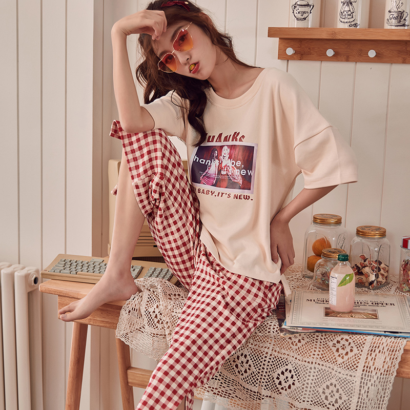 Summer Knitted Cotton Young Women's   Pajama     Set   Elegant Womens Plaid Pijama Nightgowns Pants   Pajama     Sets   Sleepwear Pyjamas Home