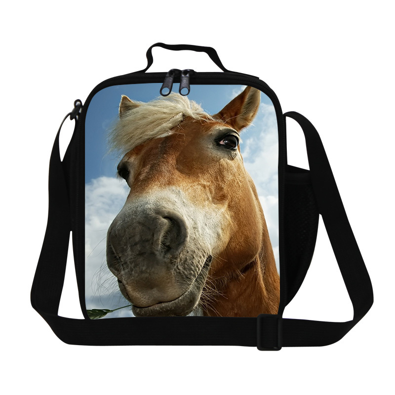 animal horse donkey prinitng insulated Lunch Bags For Kids, Messenger Lunch cooler Bags with strap for children boys meal bag
