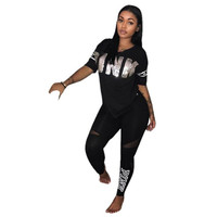 7 COLORS Fashion sexy women casual letter Pink Print patchwork two pieces suits casual nightclub party  tracksuit S3264 S-3XL
