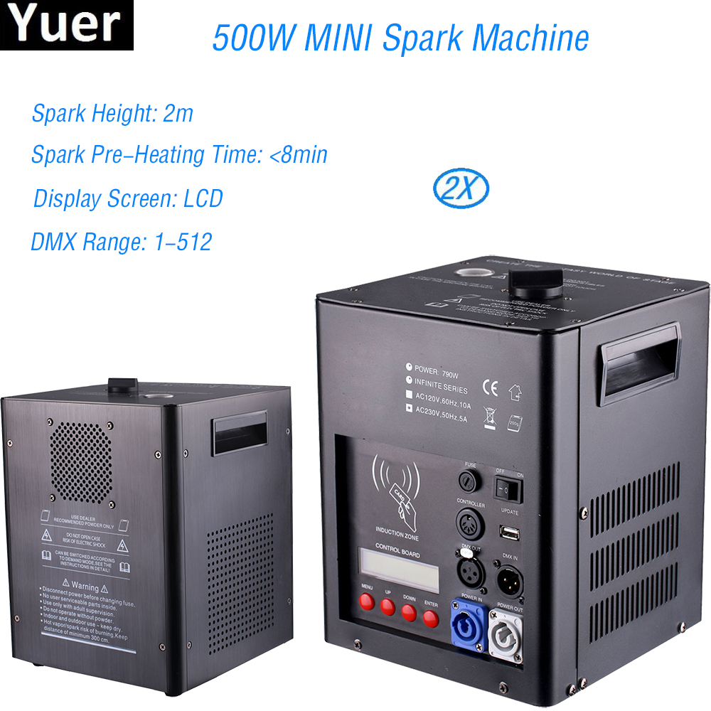 2Pcs/Lot MINI 500W Spark Machine DMX Control Stage Cold Spark Fountain Firework Machine Titanium Powder Machine For Wedding DJ