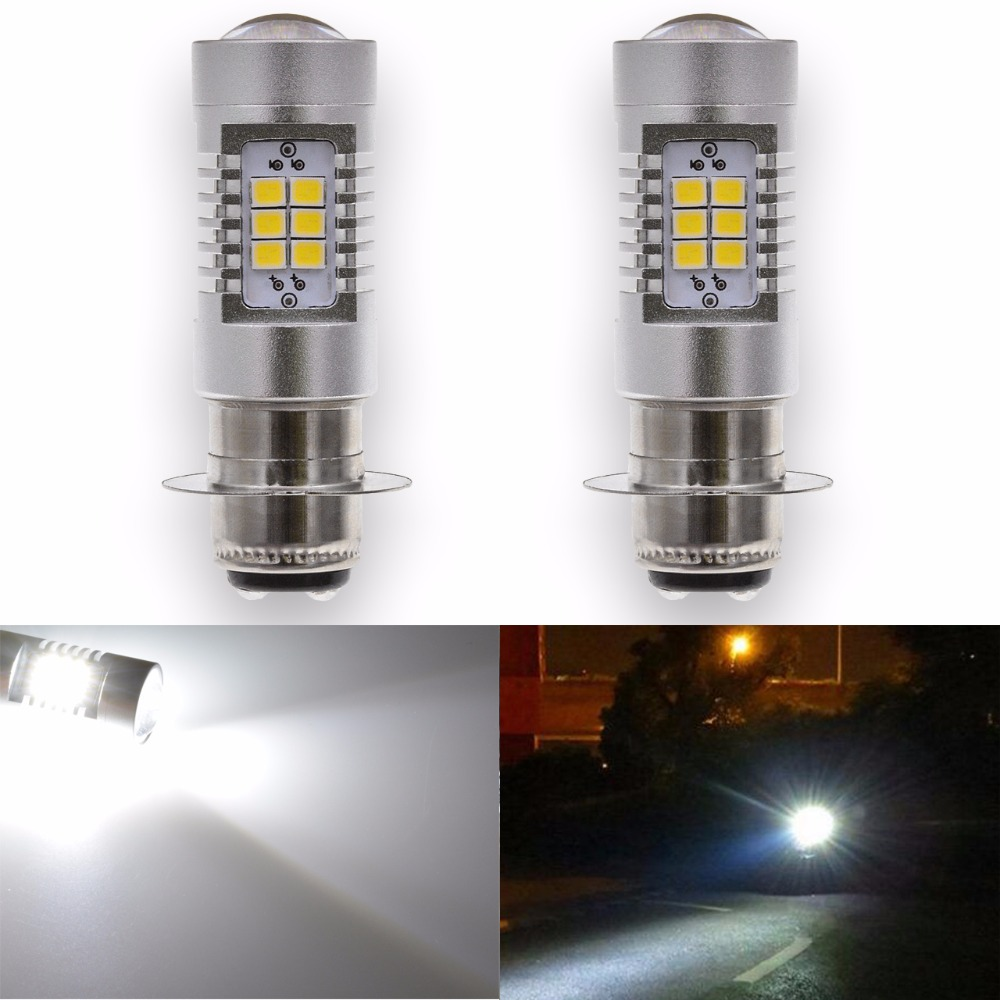 2pcs 1000LM P15D Motorcycle Headlight Fog Light DRL Daytime Driving Lamp H6M Projector Lens Led Motorbike Bulb No Hi/Lo Function ...