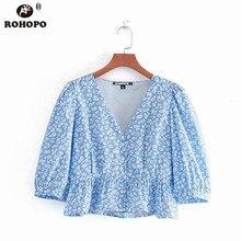 цена ROHOPO Sky Blue Half Sleeve Ruffles Printed Top Tees V Collar Lantern Sleeve Buttons Fly Cardigan Tee Shirt #CW9167