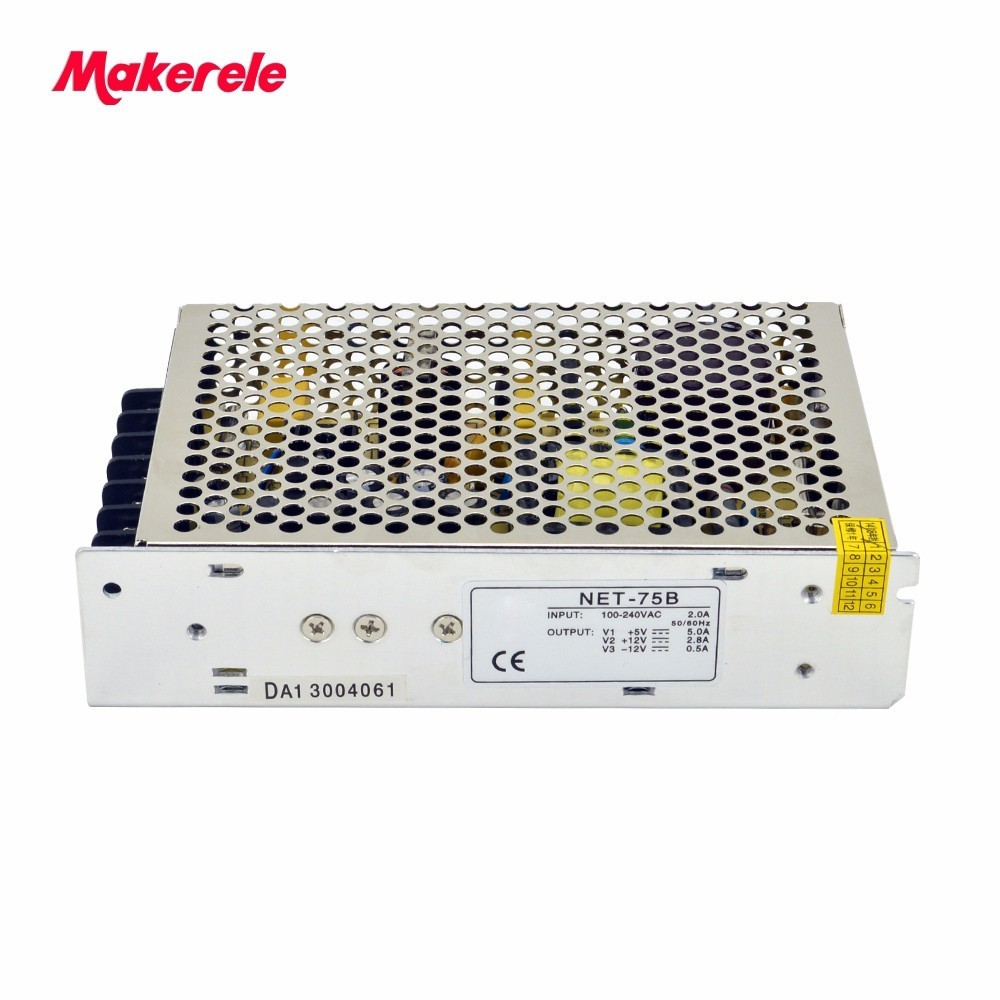 Small Volume  triple output Switching power supply ac to dc 75w net-75b  5V 12V -12V for LED Strip CNC 3D Print