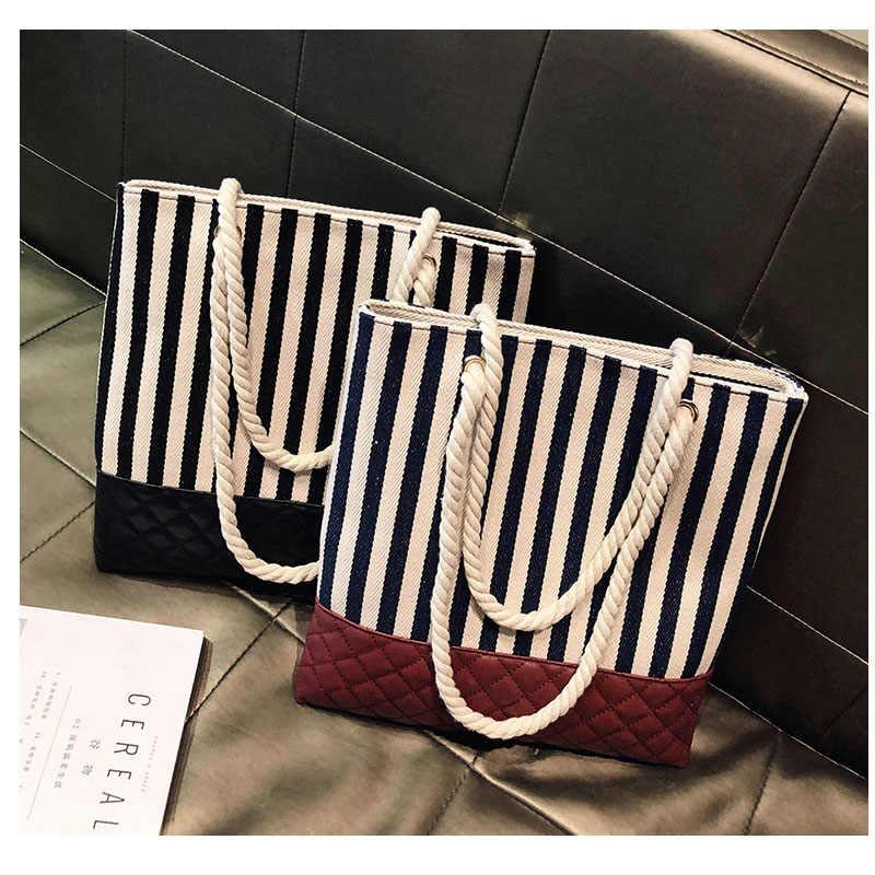 Valenkuci женская сумка в черно-белую полоску с ручкой сверху, сумка-тоут, холст искусственная кожа, сумки на плечо, женские сумки известных брендов 2018