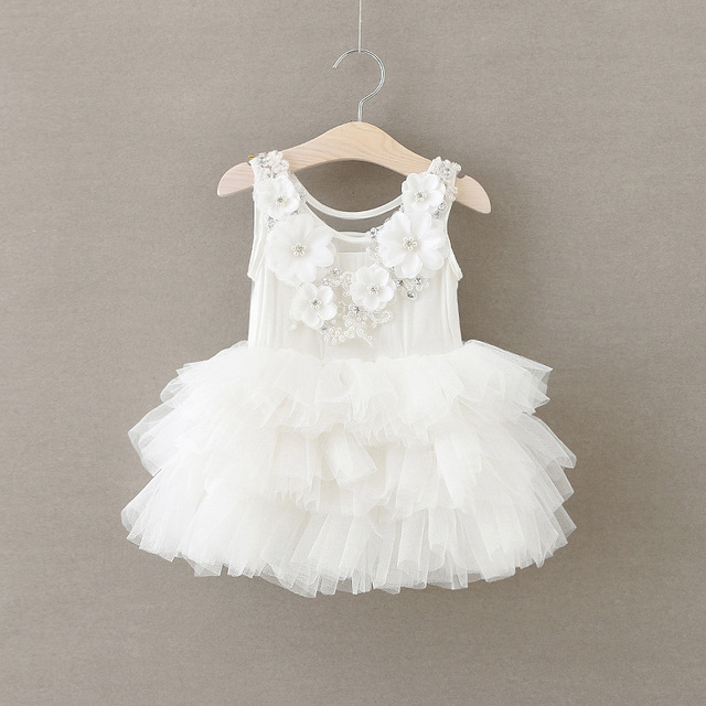 EMS DHL Free Shipping toddler's Little Girl's White Flowers Princess Party Sleeveless Tiers Dress Children Clothes