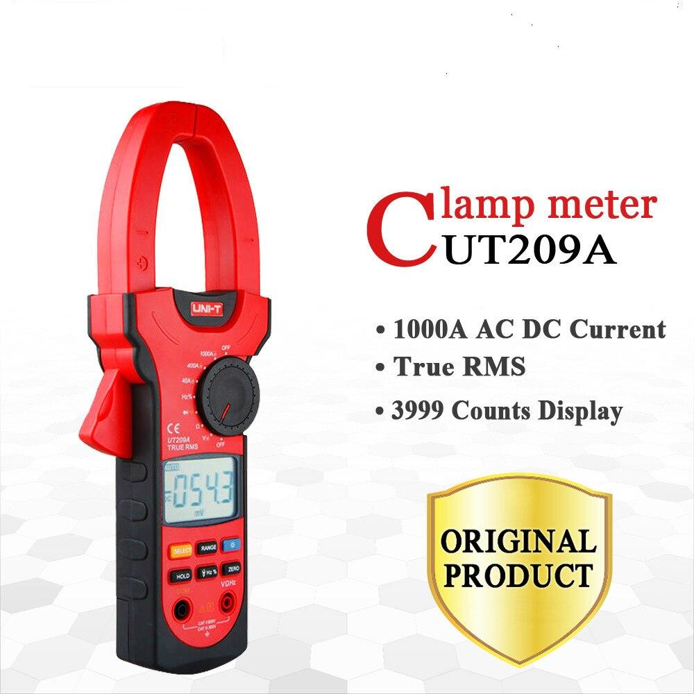 UNI T UT209A 1000A Цифровые токовые клещи частота измерительный мультиметр ЖК дисплей Ом DMM DC AC Вольтметр Амперметр переменного тока