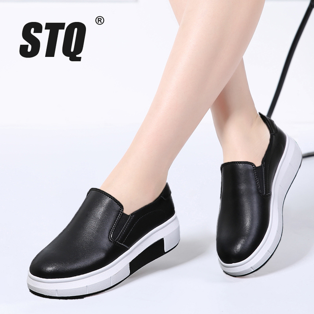 65a5427bd0a STQ 2018 Spring women flat platform shoes slip on genuine Leather white black  flats shoes female casual creepers shoes 6140