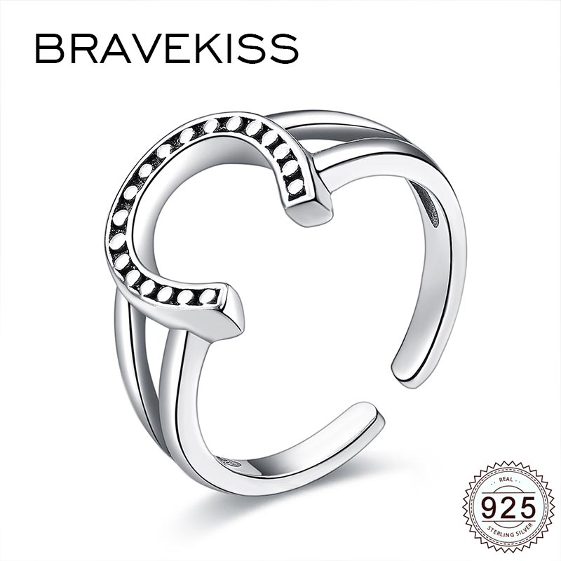 BRAVEKISS Moon 925 Sterling Silver Rings Guard Adjustable Open Rings for Women Wedding Party Ring Enhancer Fine Jewelry BLR0296 image