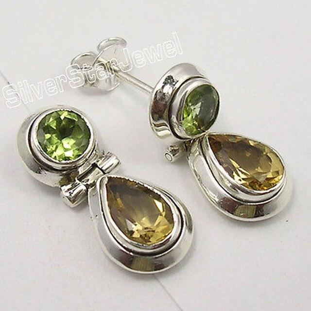 Solid Silver Genuine PERIDOT & CITRINE 2 STONE Studs Posts Earrings 2.1 CM