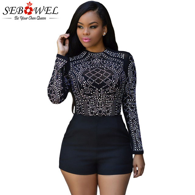 c854298ca54 SEBOWEL Sexy Black Rhinestone Mesh Tops T Shirt Women Long Sleeve Sheer  Mesh Stones Studded Tshirt Clubwear Plus Size Shirt 2019